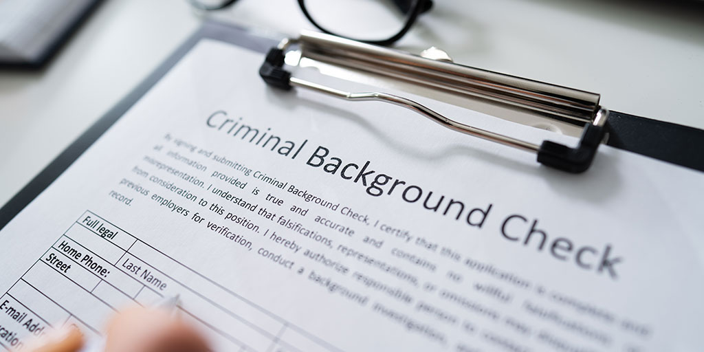 Close up on criminal background check document